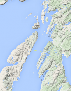 Map of the Jura - Mainland Cable Route